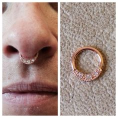 Healed septum piercing changed to a rose gold and clear cz 'Janna' seam ring from bodyvisionlosangeles  We order in bvla for uk customers, send me a message if you'd like a quote on any pieces :) kirstyannturner@live.com