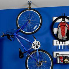 Gladiator GarageWorks Claw - Advanced Bike Storage System - The Green Head Bike Storage Systems, Bike Storage Design, Bike Storage Home, Indoor Bike Storage, Garage Storage, Vertical Bike Storage, Gladiator Garageworks, Bike Hooks, Hallway Decorating