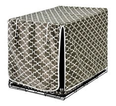 Hide the ugly wired dog crate with this attractive Dog Crate Cover.  Many sizes and patterns here - www.allamericanpup.com/category_32/Crate-Covers.htm  $82.78