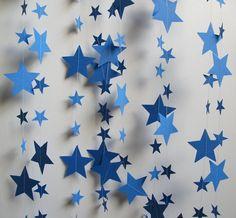 Starry Night Blue Garland 14 Feet Long by polkadotshop on Etsy, $14.50