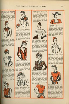 Helpful 1940s hints on how to enliven your wardrobe throughout each month of the year. #vintage #1940s #fashion