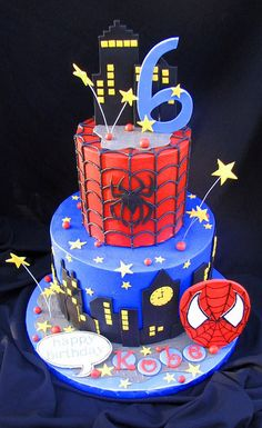 I made this one for a friend's 6 year old son. She was providing the Spidey to climb the bottom tier. Her little guy even had on his Spidey costume when he picked the cake up. 3 Year Old Birthday Cake, Spiderman Birthday Cake, Superhero Cake, Birthday Cake Girls, Cupcakes, Cupcake Cakes, Skittles Cake, Bithday Cake, Avenger Cake