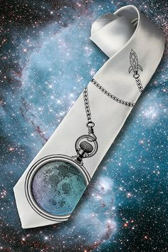 Mens Full Moon necktie Tie with moon and clock Space by tiestory