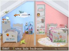 A set of furniture and decor for the decoration of children's rooms on two childrens - a boy and a girl. Found in TSR Category 'Sims 4 Kids Bedroom Sets'