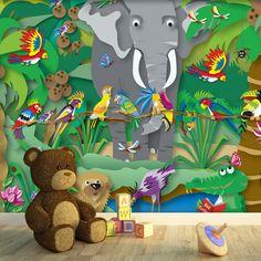 Fotomurales: La selva llena de pájaros y con un invitado inesperado: un elefante!. Ideas decoracion para habitación infantil #fotomural #infantil #TeleAdhesivo