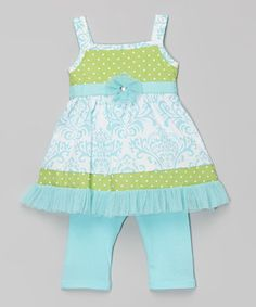 Another great find on #zulily! Blue & Green Damask Top & Pants - Infant, Toddler & Girls #zulilyfinds