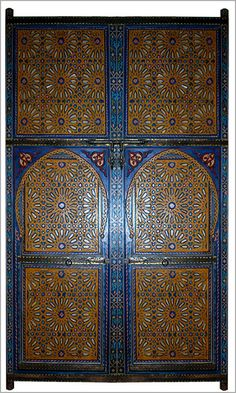 Moroccan Door, painted door, Moroccan design, Architectural accents
