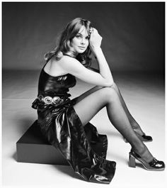 British model Jean Shrimpton in a PVC dress and matching high-heeled shoes, circa 1973. (Photo by Terry O'Neill: Hulton Archive Getty Image ...