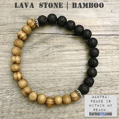 Lava Stone is considered to be a stone of rebirth and shedding unneeded layers of emotional attachment.....Bracelet | Mens Womens | beaded yoga mala charm. karma arm stacks. Black Lava Stone.
