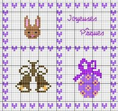 pâques - easter - oeuf - cloche - lapin - point de croix - cross stitch - Blog : http://broderiemimie44.canalblog.com/