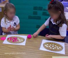 Cherry Pie Play Dough Mats  [Fine Motor]  Print out the Cherry Pie play dough mat and cover with contact paper or laminate. Have children make small round balls (for the cherries) with red play dough, and place the cherries on the circles of the play dough mat.