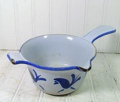Cobalt Blue Enamel Cast Iron Pot  Vintage by DivineOrders on Etsy, $12.00