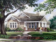 Elevation of Bungalow Craftsman House Plan 57064