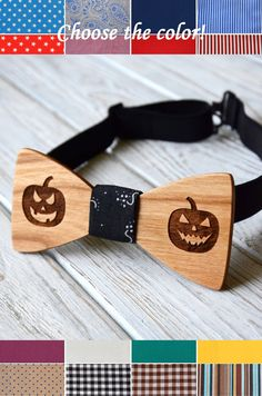 Wooden bowtie Cherry Halloween pumpkin Wedding party bowtie Groomsmen best man…