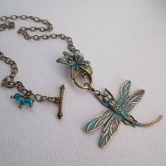 Dragonfly Necklace with Flower Toggle Clasp  Blue by rhealeanne, $28.00