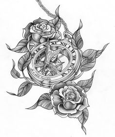 Roses And Compass Clock Tattoo Designs