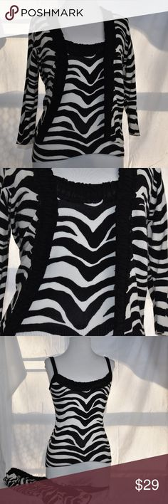 "WHBM Small Tank And Cardigan Zebra Animal Print WHBM Small Tank And Cardigan Zebra Animal Print 18"" arm pit. 22"" length White House Black Market Tops Camisoles"