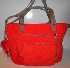 NEW NWT KIPLING Maxwell Tote Handbag Crossbody Orange Nylon Khaki Trim TM5311 #Kipling #TotesShoppers