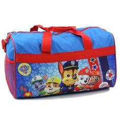 "Nick Jr Paw Patrol Chase Marshall Rocky Rubble and Zuma Boys Blue Duffle Bag With Mesh Pocket      Color Blue     Size 18"" Long     Made From 100% Polyester     Brand Nick Jr Paw Patrol     Officially Licensed Nick Jr Paw Patrol Duffle Bag"