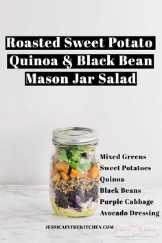 Roasted Sweet Potato, Quinoa & Black Bean Mason Jar Salad