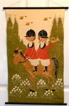 Vintage 60's Mid Century Denmark Jangaard Linen Wall Hanging Twins Riding Horse