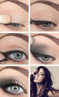 maquillage élégant avec eyeliner et ombre à paupières noire