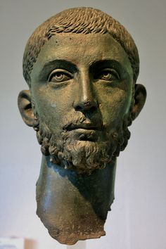 Head from a bronze statue of the Roman emperor Alexander Severus AD). On display at the Archaeological Museum of Dion (Greek: Αρχαιολογικό Μουσείο Δίου), Central Macedonia, Greece. Sculpture Head, Roman Sculpture, Roman Man, Art Romain, Roman History, Roman Emperor, Greek Art, Ancient Artifacts, Ancient Rome