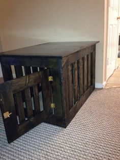 Wooden dog crate end table by Cre8tivefurniture on Etsy, $189.99