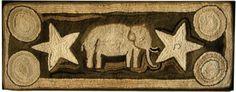 "Antique Hooked Rug ... Elephant ... Wool & Cotton On Burlap ... American ... Circa 1900 ... 18"" x 46.5"""