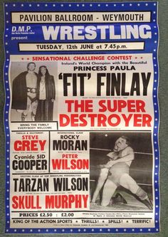 Scarce Genuine Wrestling Event Poster Fit Finlay / Princess Paula Weymouth