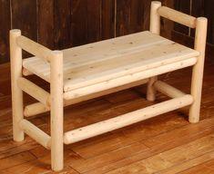 Rustic Log Bench Plans | ... on Cedar Log Boot Bench From Rocky Top Cedar Log Furniture Log Railing