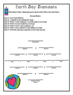 Celebrate Earth Day and Poetry Month in April. Help students learn 6 different types of poems and create their own Earth Day Poetry Booklet. Students will learn to write acrostic, shape / concrete, haiku, cinquain, and diamante poems.Includes printable poetry template worksheets on each of the 6 poem types above.