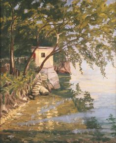 Lakeside Scene, Lake Como - Winston Spencer Churchill 1945 British 1874-1965