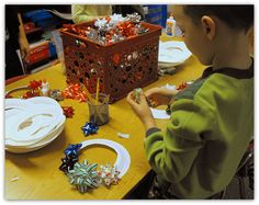 Holiday Classroom party craft idea. Holiday Bow Wreath. Use new or recycled decorative bows and paper plates. Cut out middle and place bows around the edge. Use string or yard for hanger.