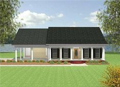 This house plan has a covered porch and patio. The floor plan is open and flows nicely throughout. Two car carport with storage room. Storage room is 124 sq. ft. Roof pitch for porch is 4/12, and for the main building is 7/12.