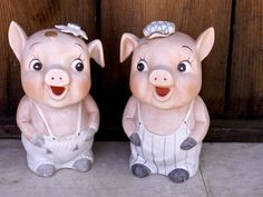 Cute Vintage Mr n Mrs PIGGY banks by dagutzyone on Etsy, $40.00