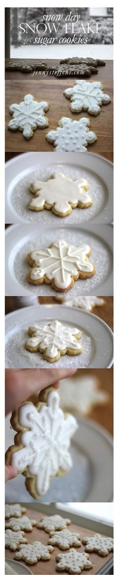 Easy Snowflake Sugar Cookies with Royal Icing Fun Cookies, Holiday Cookies, Holiday Treats, Holiday Recipes, Snowflake Cookies, Decorated Cookies, Christmas Sweets, Christmas Cooking, Christmas Decorations