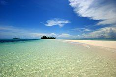 white powder sand bridge to Island2, morotai, Indonesia