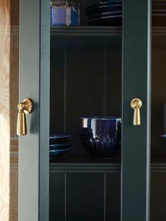 LOMMARP dark blue-green, Cabinet with glass doors, 86x199 cm - IKEA Glass Cabinet Doors, Glass Doors, Dark Blue Green, Window Cleaner, Clean Design, Panel Doors, Storage Cabinets, Adjustable Shelving