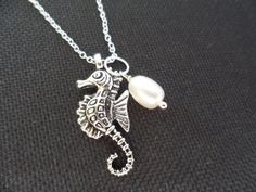Seahorse and Pearl Necklace  Bridesmaid Gifts by DaniJessBoutique, $10.99