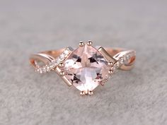 2.4 Carat Cushion Cut Morganite Engagement Ring Diamond Promise Ring 14k Rose Gold Split Shank Infinity Twisted Curved #cushioncutengagementrings #cushioncutring