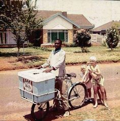 The suburb streets in the 60's & 70's. Ice cream sellers on their bicycles. Note: The lack of security of the houses.