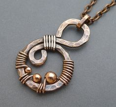 Oxidized Copper Swirl Necklace with Copper Beads by ChainFlower, $20.00