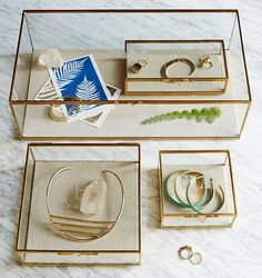 Golden Glass Shadow Box Jewelery Storage thats not an actual
