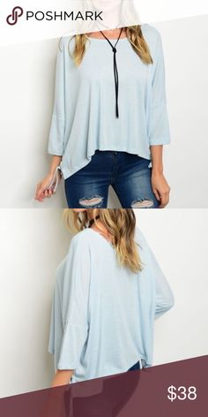 COMING SOON   Baby blue flowy blouse. Boho dolman sleeve. Limited inventory! WILA Tops Blouses
