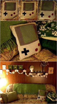 crocheted gameboy pillow