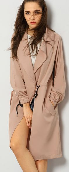 This Nude Lapel Pockets Coat is so trendy! I love it! The coat has the look of a long blazer and a fashion coat all in one with the buttons.