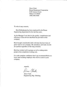 sample letter of recommendation estela kennen resume pinterest