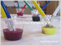 Scented invisible ink by Teach Preschool