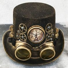 Steampunk mode STEAMPUNK cylinder silver / pewter steampunk hat with tin